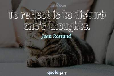 Photo Quote of To reflect is to disturb one's thoughts.