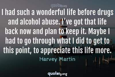 Photo Quote of I had such a wonderful life before drugs and alcohol abuse. I've got that life back now and plan to keep it. Maybe I had to go through what I did to get to this point, to appreciate this life more.