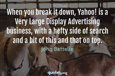 Photo Quote of When you break it down, Yahoo! is a Very Large Display Advertising business, with a hefty side of search and a bit of this and that on top.