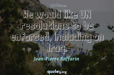 Photo Quote of We would like UN resolutions to be enforced, including on Iraq.