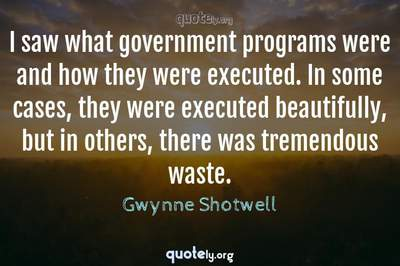 Photo Quote of I saw what government programs were and how they were executed. In some cases, they were executed beautifully, but in others, there was tremendous waste.