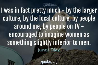 Photo Quote of I was in fact pretty much - by the larger culture, by the local culture, by people around me, by people on TV - encouraged to imagine women as something slightly inferior to men.