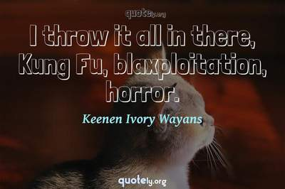 Photo Quote of I throw it all in there, Kung Fu, blaxploitation, horror.