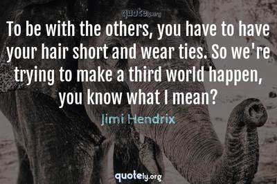Photo Quote of To be with the others, you have to have your hair short and wear ties. So we're trying to make a third world happen, you know what I mean?