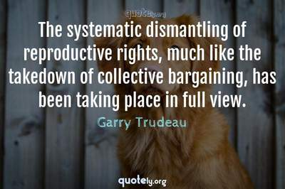 Photo Quote of The systematic dismantling of reproductive rights, much like the takedown of collective bargaining, has been taking place in full view.