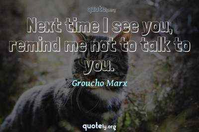 Photo Quote of Next time I see you, remind me not to talk to you.