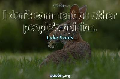 Photo Quote of I don't comment on other people's opinion.