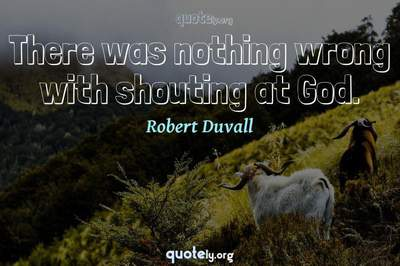 Photo Quote of There was nothing wrong with shouting at God.