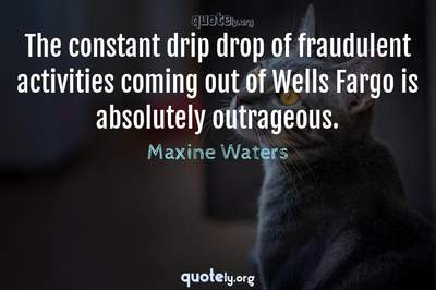 Photo Quote of The constant drip drop of fraudulent activities coming out of Wells Fargo is absolutely outrageous.