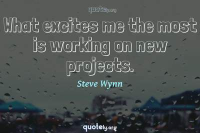 Photo Quote of What excites me the most is working on new projects.