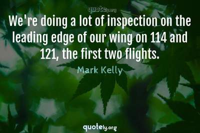 Photo Quote of We're doing a lot of inspection on the leading edge of our wing on 114 and 121, the first two flights.