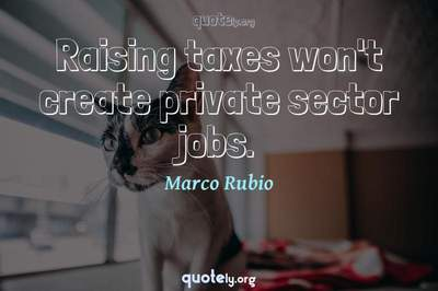 Photo Quote of Raising taxes won't create private sector jobs.