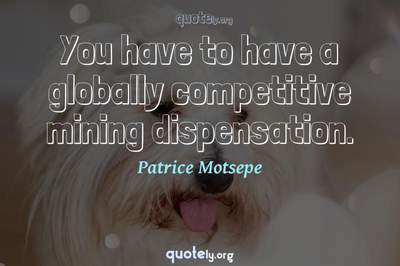Photo Quote of You have to have a globally competitive mining dispensation.