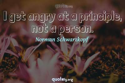 Photo Quote of I get angry at a principle, not a person.