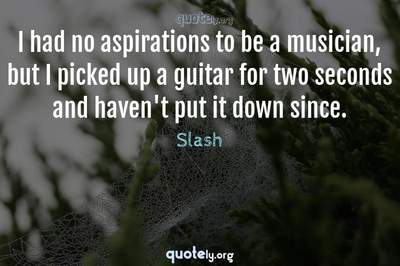 Photo Quote of I had no aspirations to be a musician, but I picked up a guitar for two seconds and haven't put it down since.