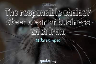 Photo Quote of The responsible choice? Steer clear of business with Iran.