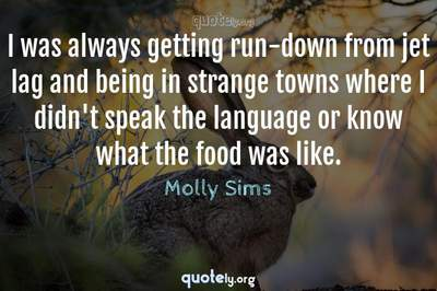 Photo Quote of I was always getting run-down from jet lag and being in strange towns where I didn't speak the language or know what the food was like.
