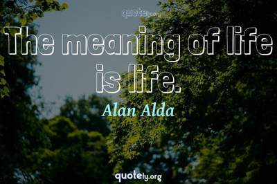 Photo Quote of The meaning of life is life.