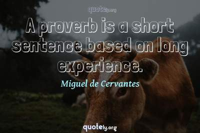 Photo Quote of A proverb is a short sentence based on long experience.