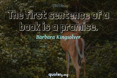 Photo Quote of The first sentence of a book is a promise.