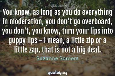 Photo Quote of You know, as long as you do everything in moderation, you don't go overboard, you don't, you know, turn your lips into guppy lips - I mean, a little zip or a little zap, that is not a big deal.