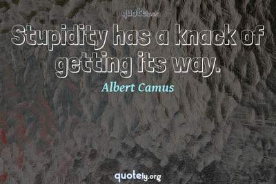 Photo Quote of Stupidity has a knack of getting its way.