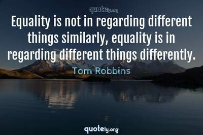 Photo Quote of Equality is not in regarding different things similarly, equality is in regarding different things differently.