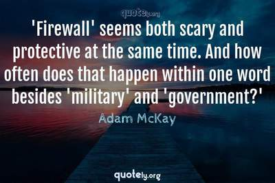 Photo Quote of 'Firewall' seems both scary and protective at the same time. And how often does that happen within one word besides 'military' and 'government?'