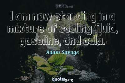 Photo Quote of I am now standing in a mixture of cooling fluid, gasoline, and cola.