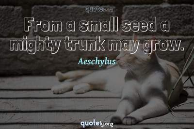 Photo Quote of From a small seed a mighty trunk may grow.