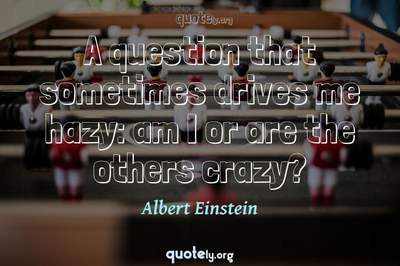 Photo Quote of A question that sometimes drives me hazy: am I or are the others crazy?