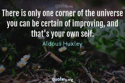 Photo Quote of There is only one corner of the universe you can be certain of improving, and that's your own self.