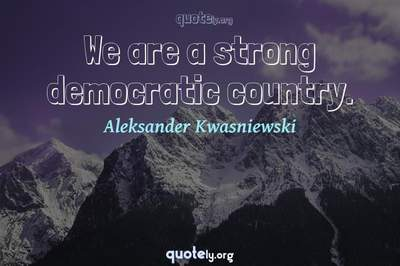 Photo Quote of We are a strong democratic country.