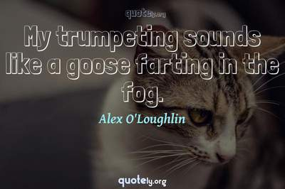 Photo Quote of My trumpeting sounds like a goose farting in the fog.