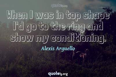 Photo Quote of When I was in top shape I'd go to the ring and show my conditioning.