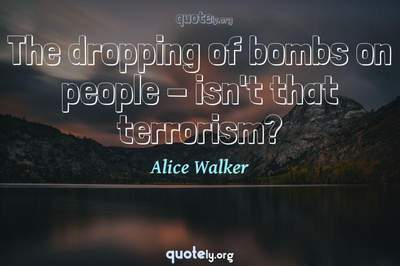 Photo Quote of The dropping of bombs on people - isn't that terrorism?