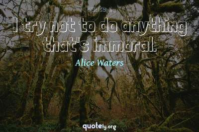 Photo Quote of I try not to do anything that's immoral.
