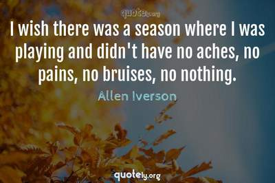 Photo Quote of I wish there was a season where I was playing and didn't have no aches, no pains, no bruises, no nothing.