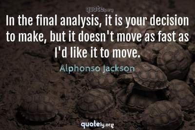 Photo Quote of In the final analysis, it is your decision to make, but it doesn't move as fast as I'd like it to move.