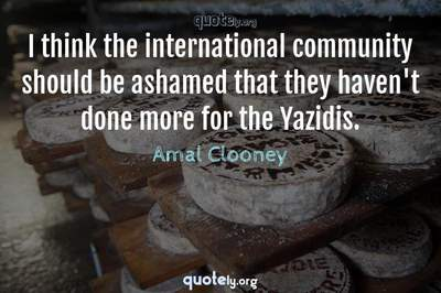 Photo Quote of I think the international community should be ashamed that they haven't done more for the Yazidis.