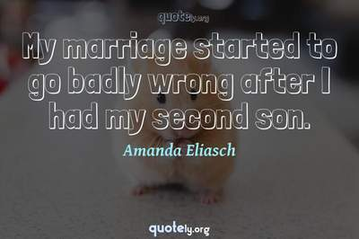 Photo Quote of My marriage started to go badly wrong after I had my second son.