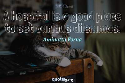 Photo Quote of A hospital is a good place to set various dilemmas.