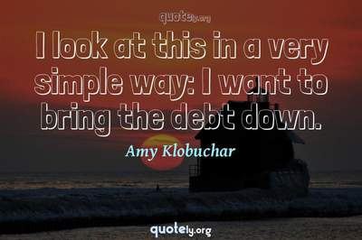 Photo Quote of I look at this in a very simple way: I want to bring the debt down.