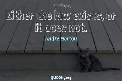 Photo Quote of Either the law exists, or it does not.