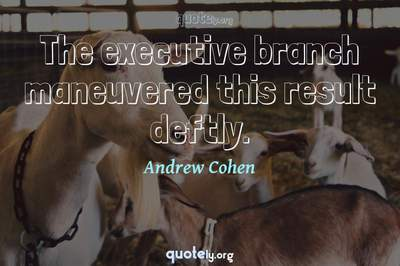 Photo Quote of The executive branch maneuvered this result deftly.