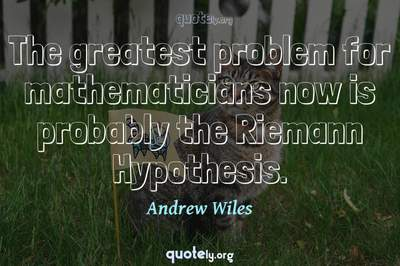 Photo Quote of The greatest problem for mathematicians now is probably the Riemann Hypothesis.