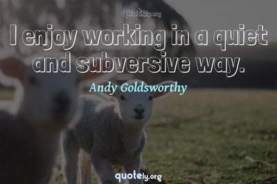 Photo Quote of I enjoy working in a quiet and subversive way.