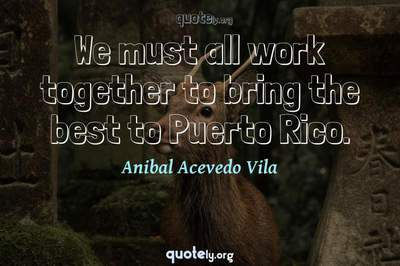 Photo Quote of We must all work together to bring the best to Puerto Rico.
