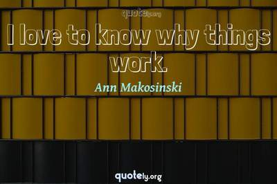 Photo Quote of I love to know why things work.
