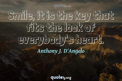 Photo Quote of Smile, it is the key that fits the lock of everybody's heart.